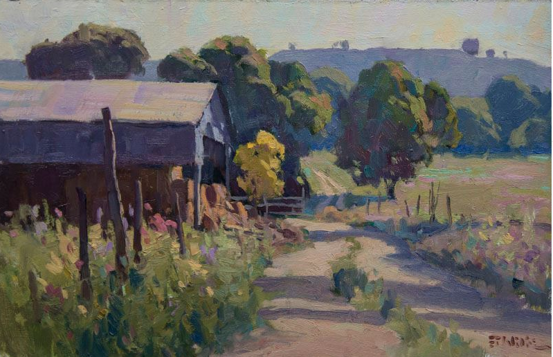 "Flint Hills Hay Barn - oil - 9 x 12 - Available Through ""Beauchamp Gallery"" - Topeka, KS."
