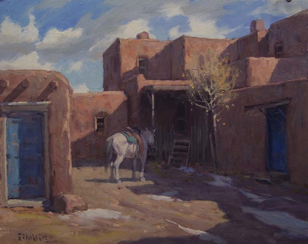 December Morning, Taos Pueblo - oil