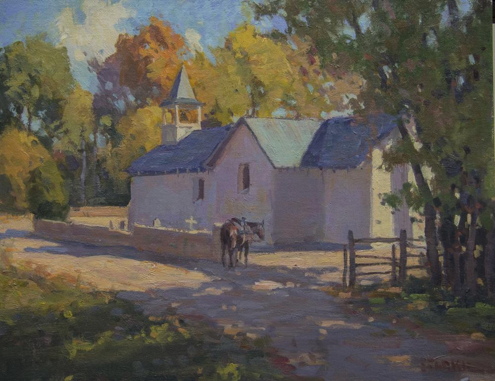 Church Near Rio Grande - oil - Available through Big Horn Galleries.