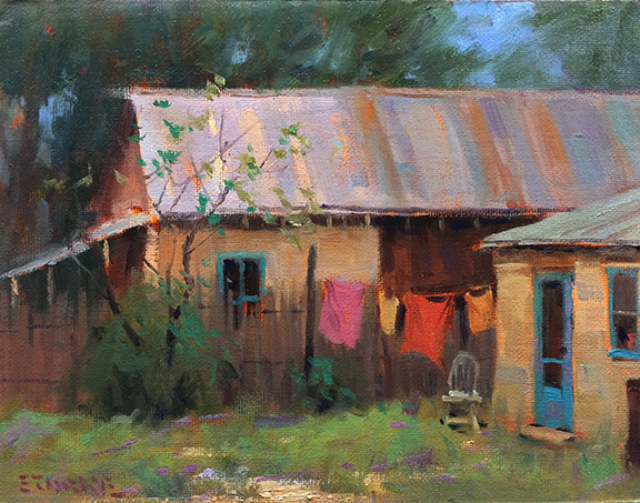 Laundry Day Los Lunas, NM - oil - 9x12 - Available through Beauchamps Gallery.