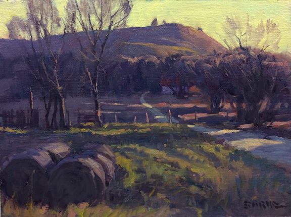 Paxico Road Sunset - 9x12 - oil - Available through Beauchamps Gallery