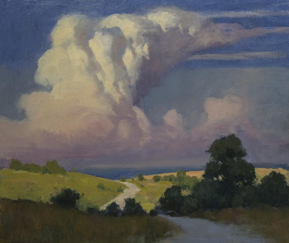 Kansas Thunderhead - oil -12x14 - Available through Beauchamps Gallery.