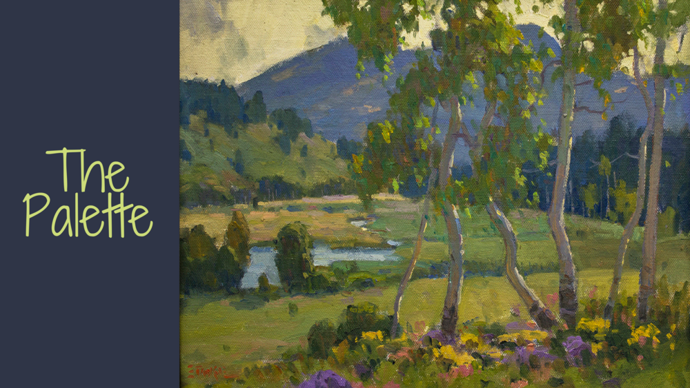 "In Video Demonstration 1, ""The Palette"", I teach mixing the greens I use for those summer landscapes to keep them interesting.  I show how I mix those greens right on the palette so you can see what color I choose and how they work together"