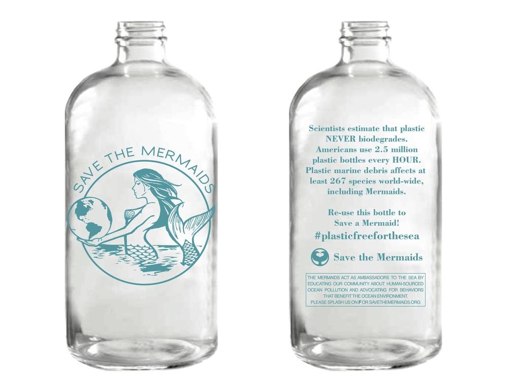 Mermaid Reusable Glass Water Bottle Save the Mermaids