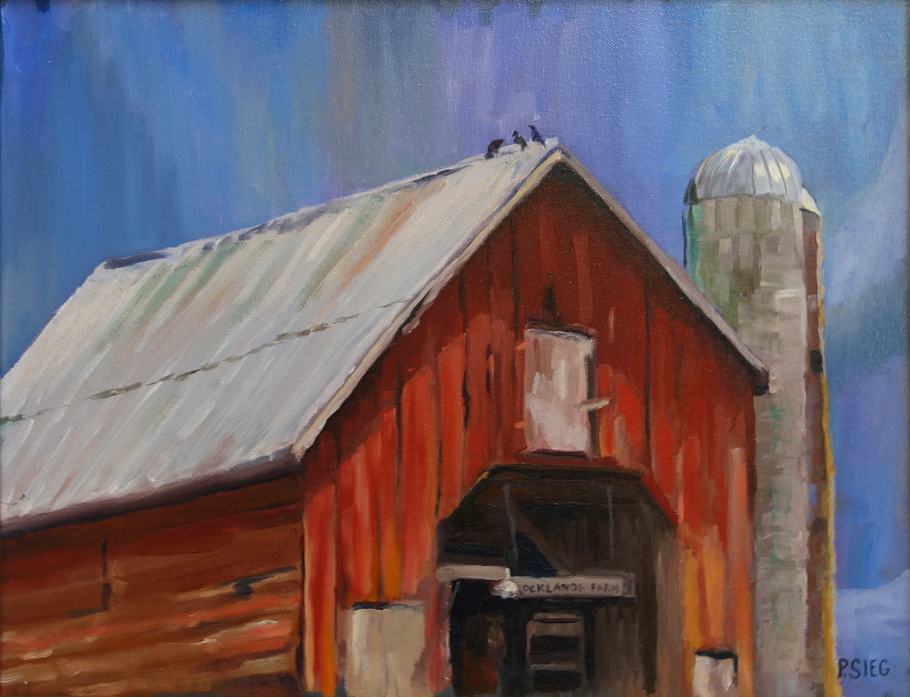 "Three Birds on the Barn   16"" x 20"", oil on canvas For sale,  contact the artist"