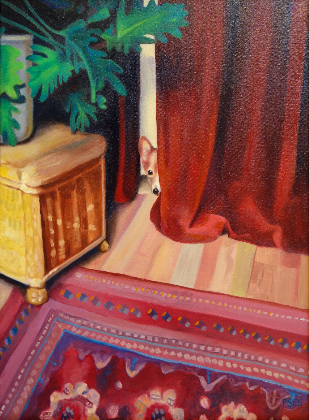 "Chessie is Shy   18"" x 24"", oil on canvas Private collection"