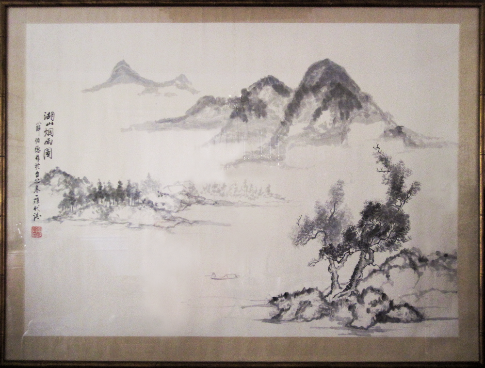 "Fishing on the Misty Lake   32"" x 42"", Chinese ink Private collection"