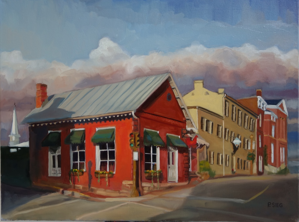 "Red Hen Lexington   18"" x 24"", oil on canvas  Private collection, Chef Matt Adams and General Manager Becca Adams, partners The Red Hen in Lexington, Virginia"