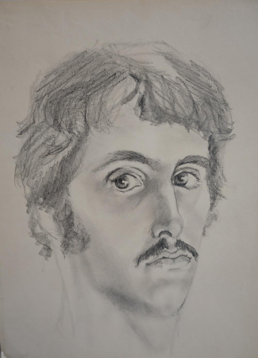 """Self Portrait Study   9"""" x 12"""", Graphite  Private Collection"""