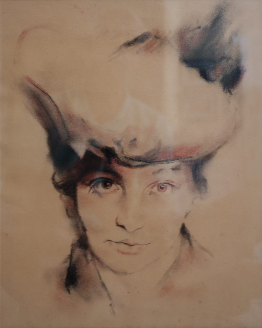 """Eyes on the Hat, Study for Monet's Wife   10"""" x 12"""", charcoal  Private collection"""