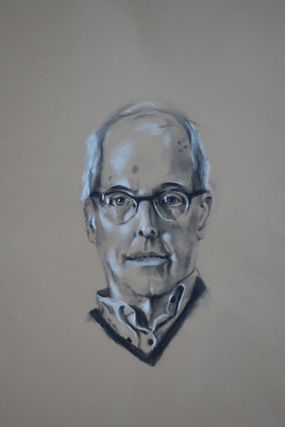 """Warts and All, the Artist As A Not So Young Man  14"""" x 17"""", charcoal  Private collection"""