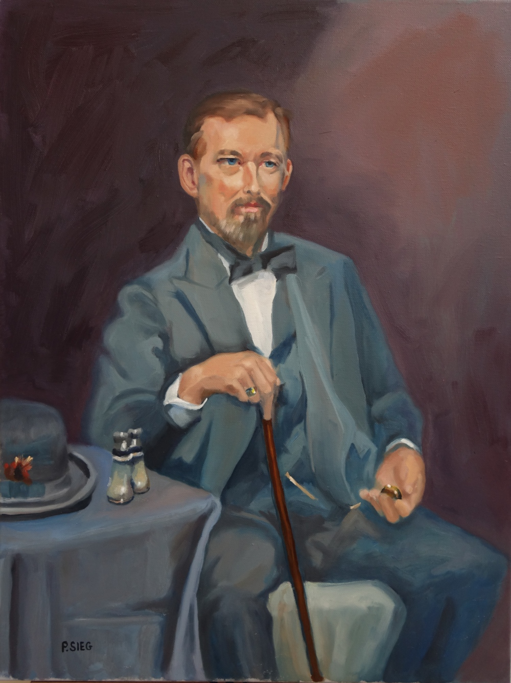 """Blue Eyes, Gray Suit, Walking Stick    18"""" x 24"""", oil on canvas For sale,  contact the artist"""