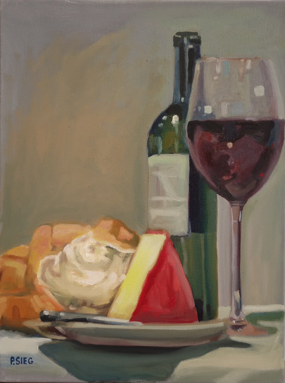 "Cheese Plate   16"" x 12"", oil on canvas For sale,  contact the artist"