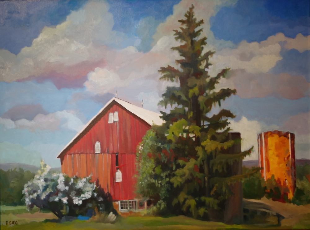 "Crouching Rosebush, Hidden Silo  18"" x 24"", oil on canvas Private collection"