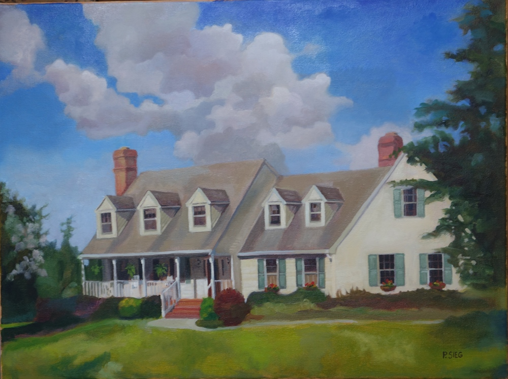 "Len's and Lisa's Home On Wildcat Road  18"" x 24"", oil on canvas Commission, private collection"