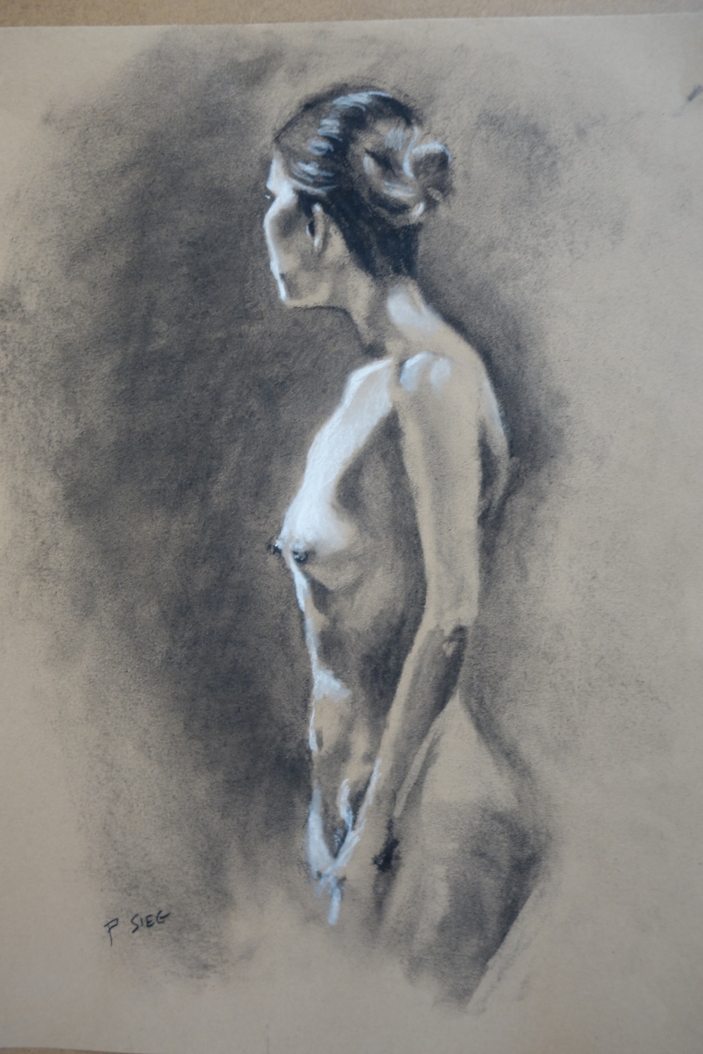 "Study 1 for Skinny Dip  18"" x 24"", charcoal on paper For sale,  contact the artist"