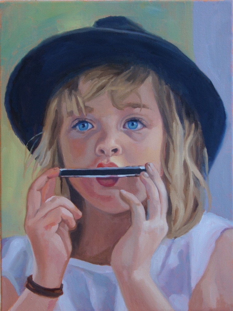 """Harmonica Jane  16"""" x 20"""", oil on canvas Private Collection"""
