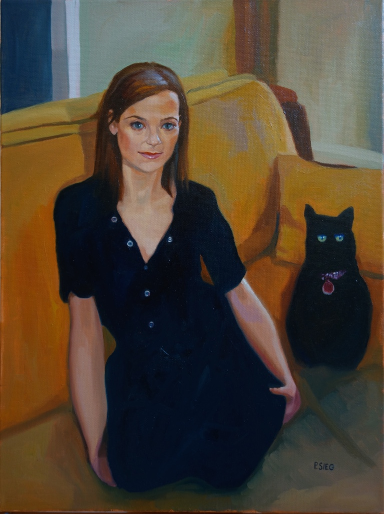 """Lila and the Pet Lover  18"""" x 24"""", Oil on canvas Private collection"""