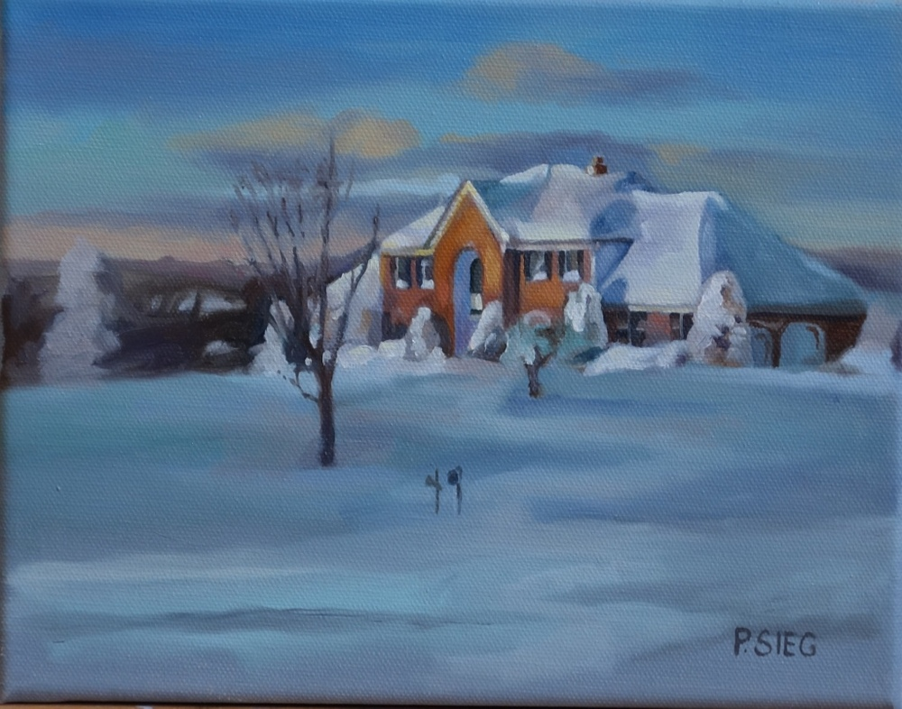 "Snowy Sunset  8"" x 10"", oil on canvas Private collection"
