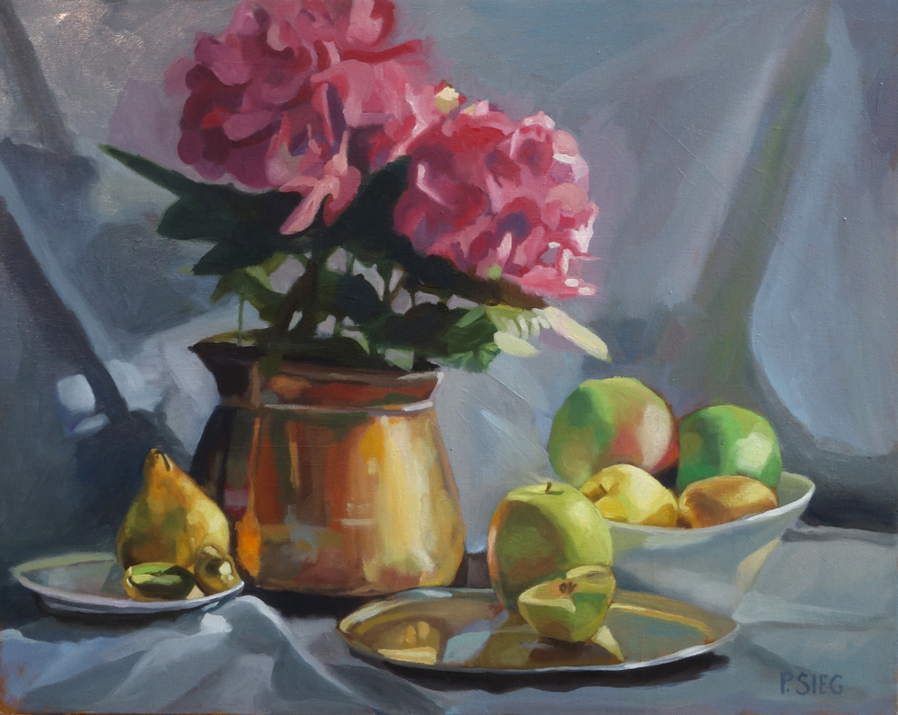 "Fruit, Flower, Copper Pot  16"" x 20"", oil on canvas for sale,  contact the artist"