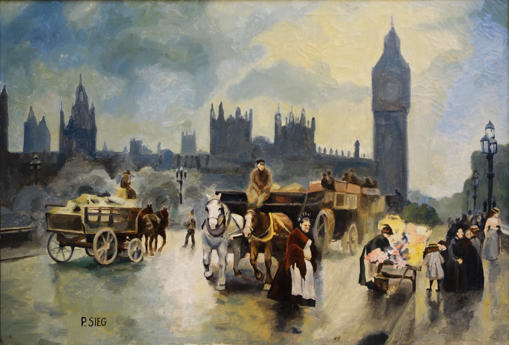 "Parliament Bridge in Victorian Times  18"" x 24"", oil on canvas For Sale,  contact the artist"