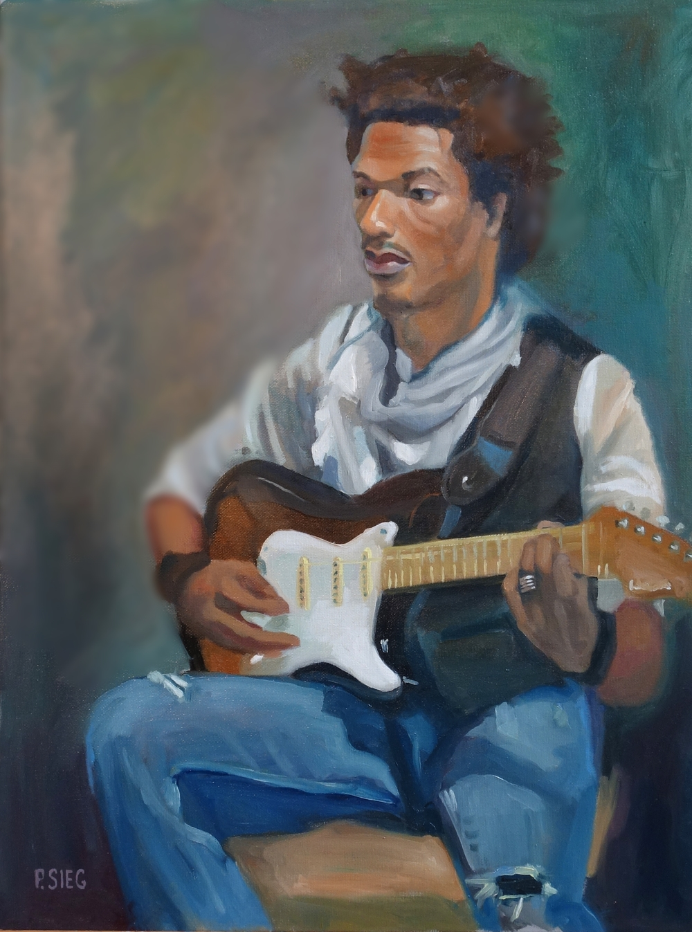 """Scarf, Guitar and Torn Jeans  18"""" x 24"""", oil on canvas For Sale,  contact the artist"""