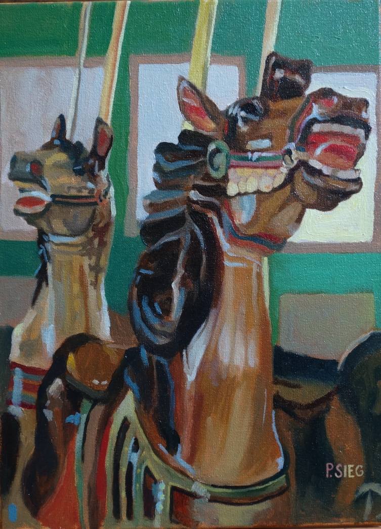 "Startled Carousel Horses  12"" x 16"", oil on canvas For sale,  contact the artist"