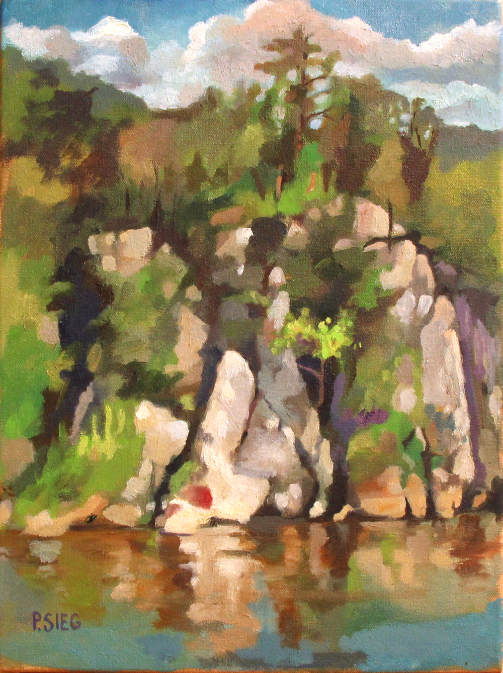 "Sunshine on the Rocks, Great Falls, MD  12"" x 16"", oil on canvas For sale,  contact the artist"