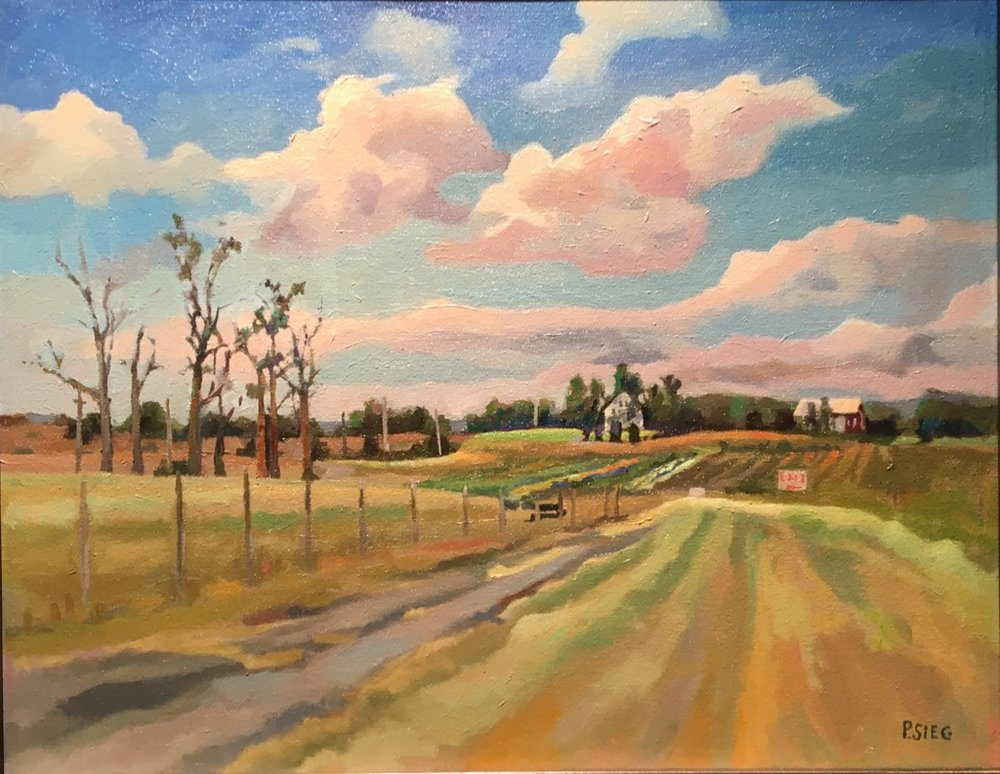 "Exit, Homestead Farm  16"" x 20"", oil on canvas For sale,  contact the artist"