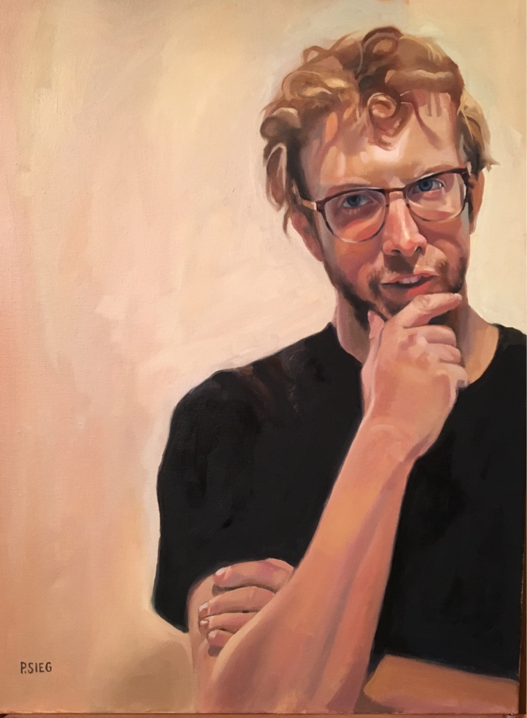 """The Art Critic   18"""" x 24"""", oil on canvas Private collection"""