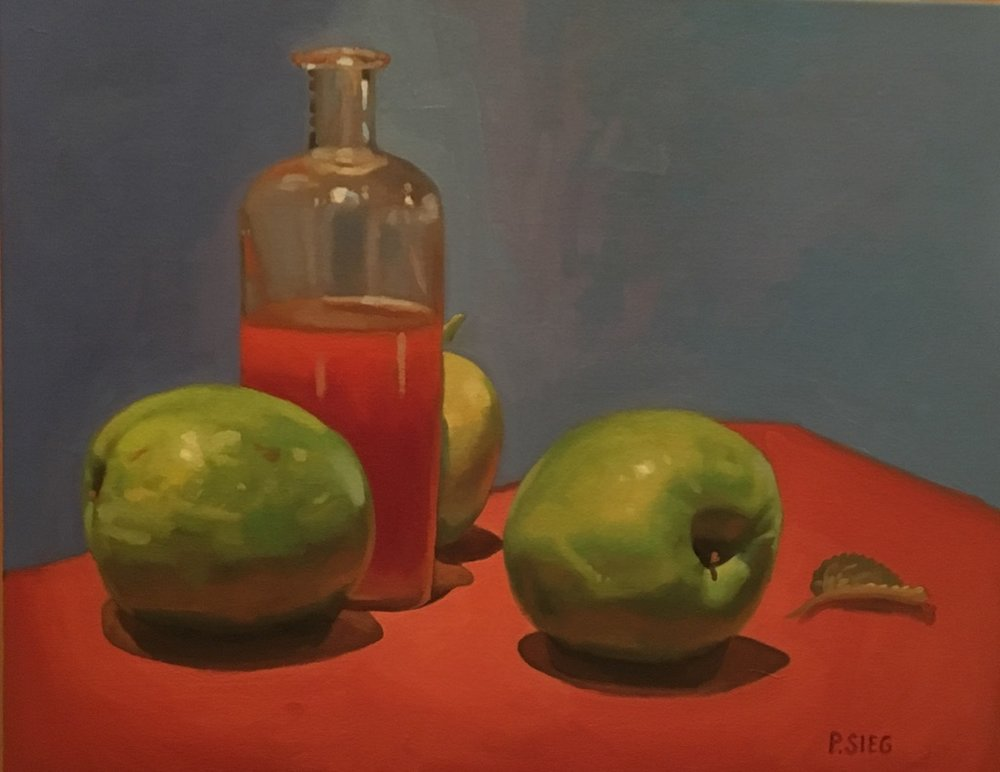 "Calvados and Leaf   16"" x 20"", oil on canvas For sale,  contact the artist"