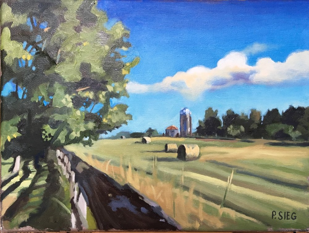"Hay Roll-ups  9"" x 12, oil on canvas For sale,  contact the artist"
