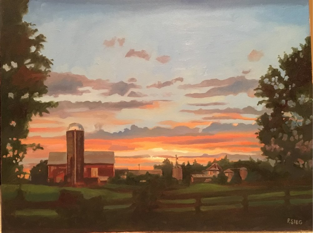 "Farm at Sunset  18"" x 24"", oil on canvas Private collection"