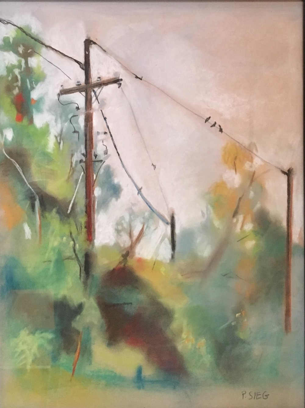 "High Wire  10"" x 14"", pastel on paper Private collection"