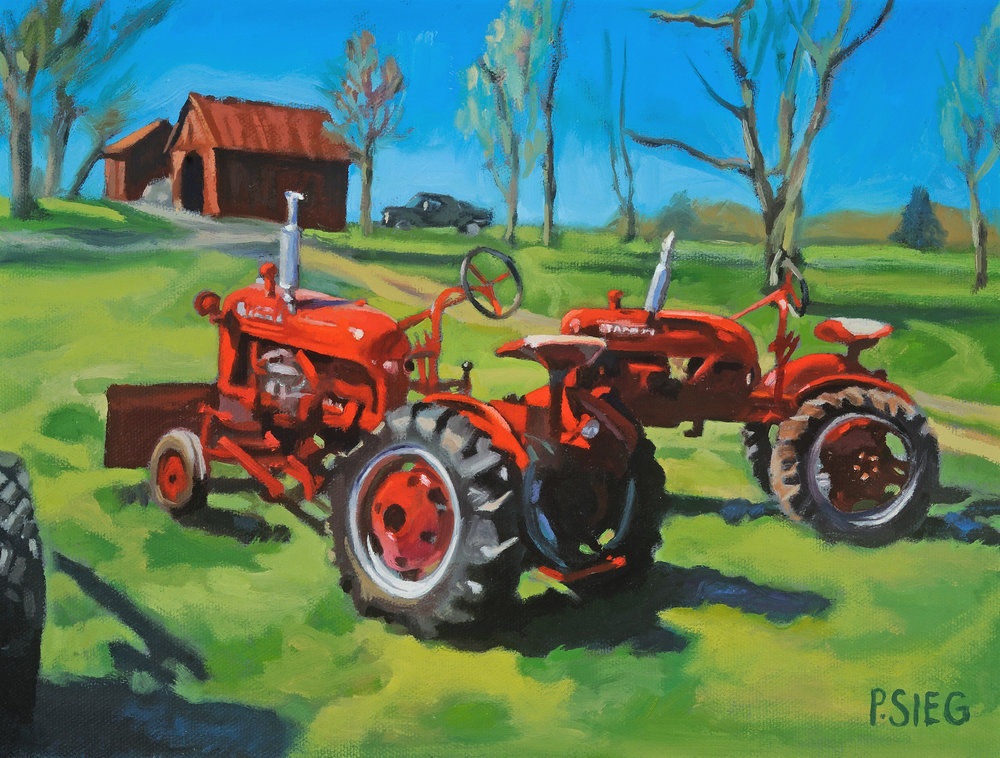 "Red Paint and Muddy Tires  9"" x 12"", oil on canvas, prize winning work For sale, contact the artist"