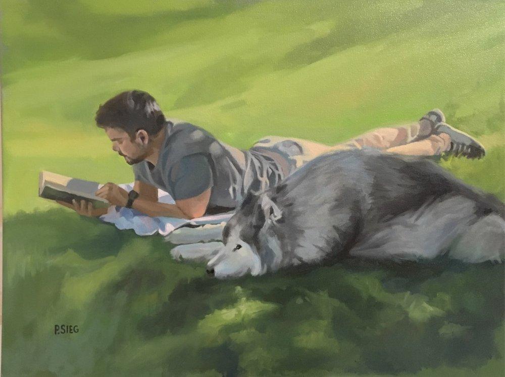 "Michael and Maverick  18"" x 24"", oil on canvas Commissioned portrait"