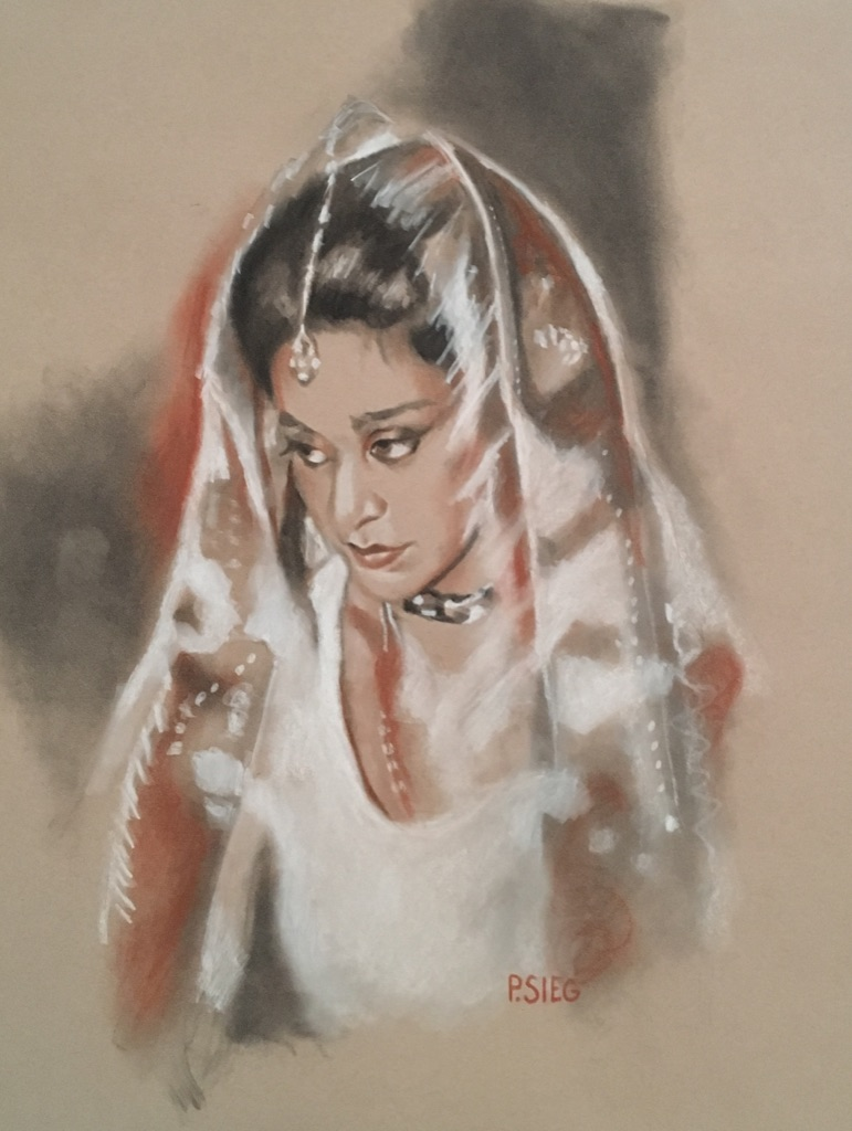 """Princess, Bride  Charcoal and Conte, 16"""" x 20"""", Private collection"""