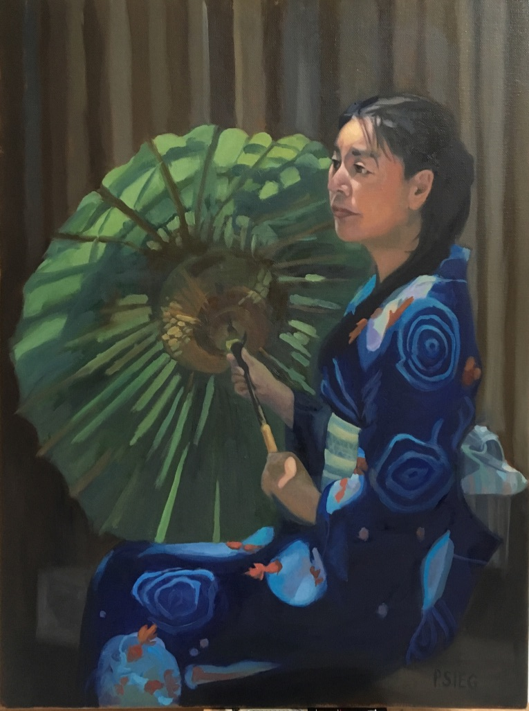 "Shinto Priestess  18"" x 24"", oil on canvas For sale,  contact the artis t"