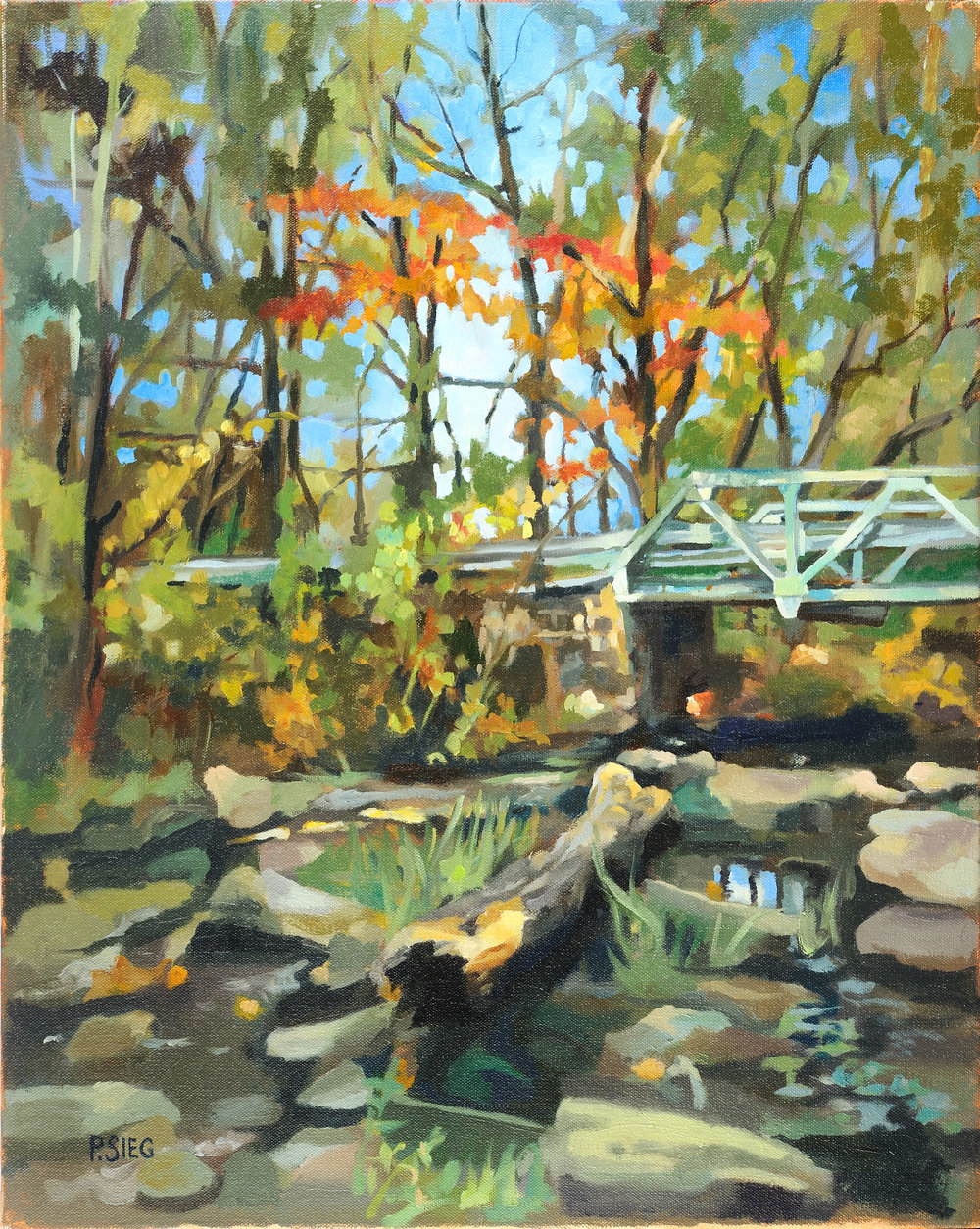 "No Bars At Montevideo Bridge  16"" x 20"", oil on canvas For sale,  contact the artist   Honorable mention, December, 2016, Rockville Art League member show"