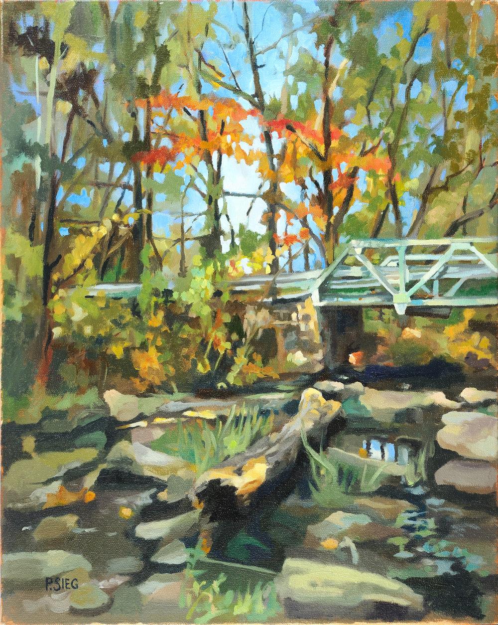 "Montevideo Bridge  16"" x 20"", oil on canvas For sale,  contact the artist   Honorable mention, December, 2016, Rockville Art League member show"
