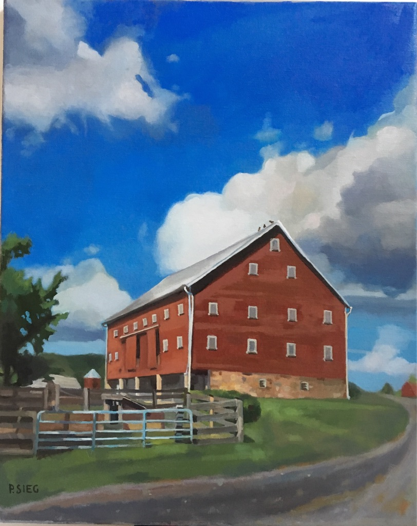 "Clouds Beyond the Barn  16"" x 20"", oil on canvas For sale,  contact the artist"