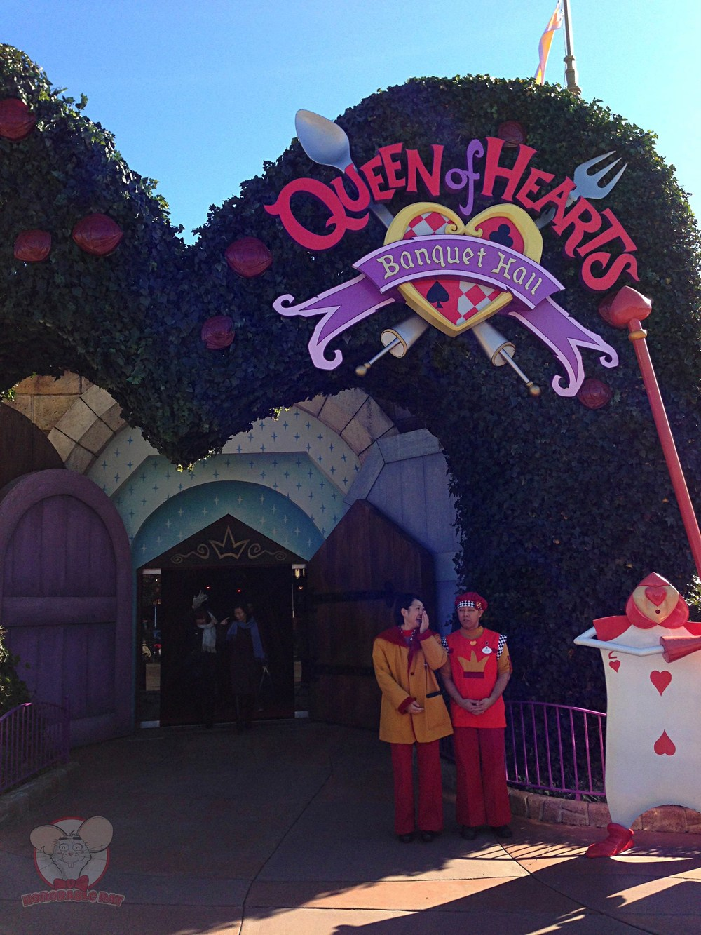 The main entrance to the Queen of Hearts Banquet Hall
