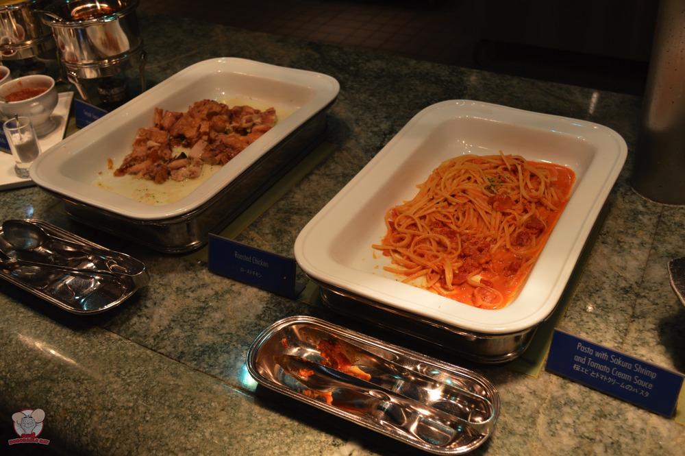 Roasted Chicken (Left), Pasta with Sakura Shrimp and Tomato Cream Sauce (Right)
