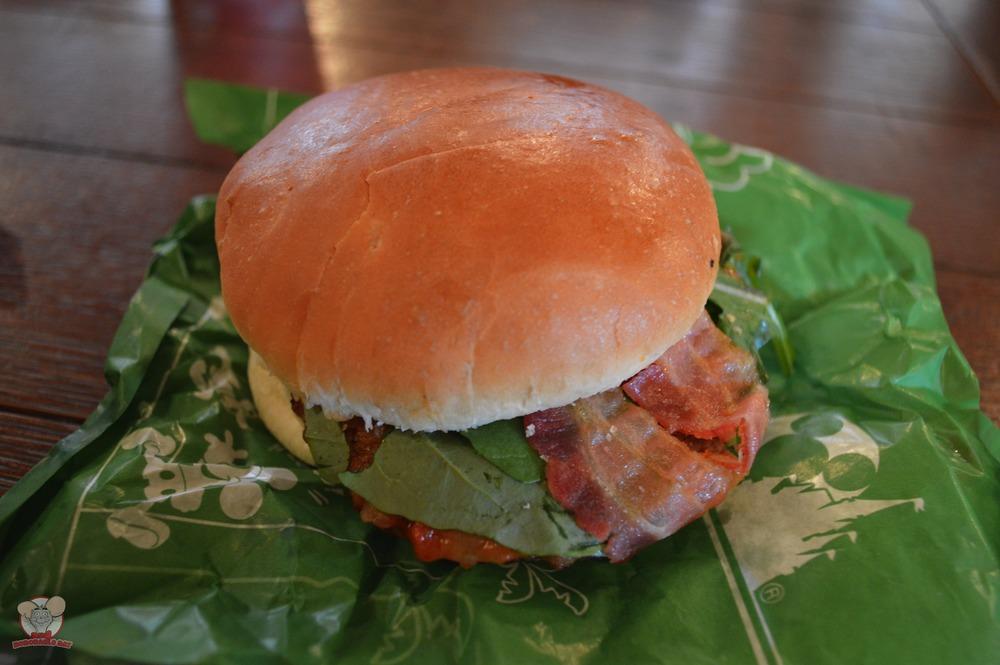 Hamburger with Bacon, Capunata and Arugula