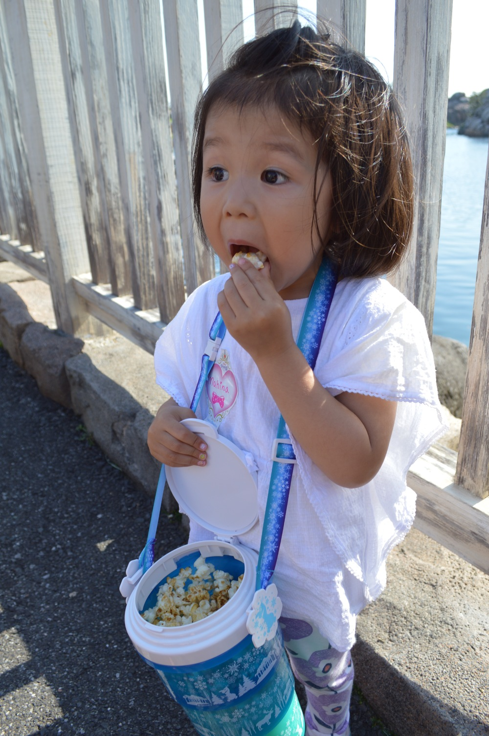 Little Mahina enjoying her Milk Tea Popcorn