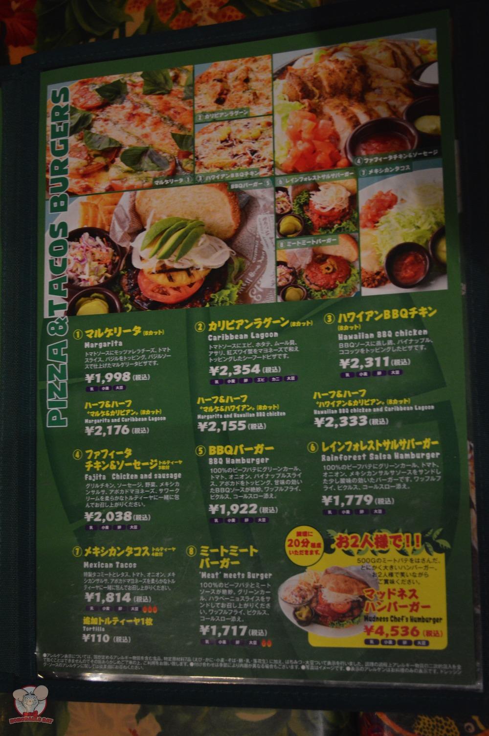 Pizzas, Tacos & Burgers Menu