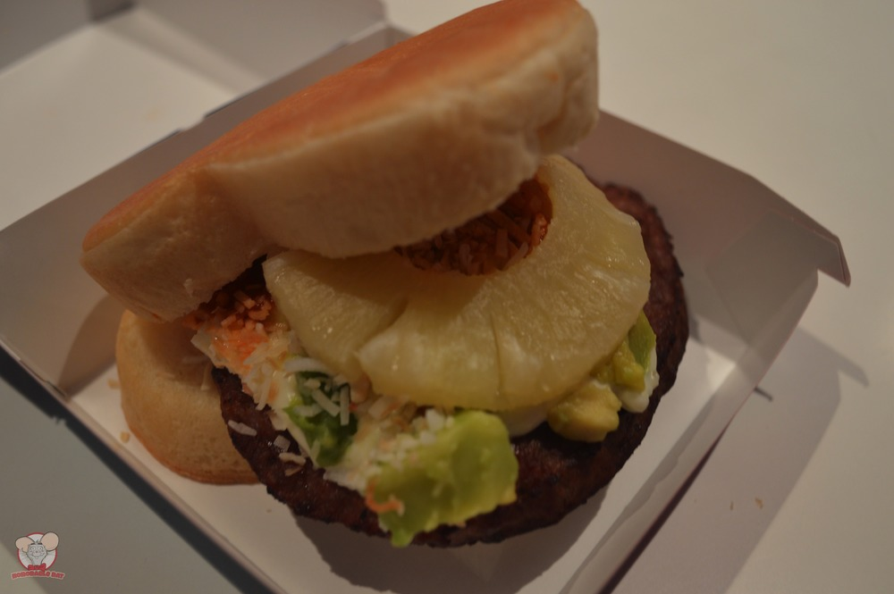 Closer look at the Pineapple, Avocado & Beef Patty Mickey Bread Sandwich