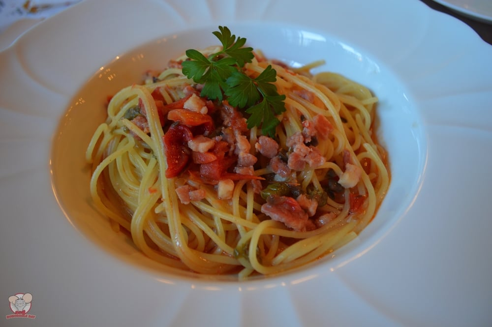 Spaghettini with Pancetta, Dried Tomatoes and Garlic Sauce