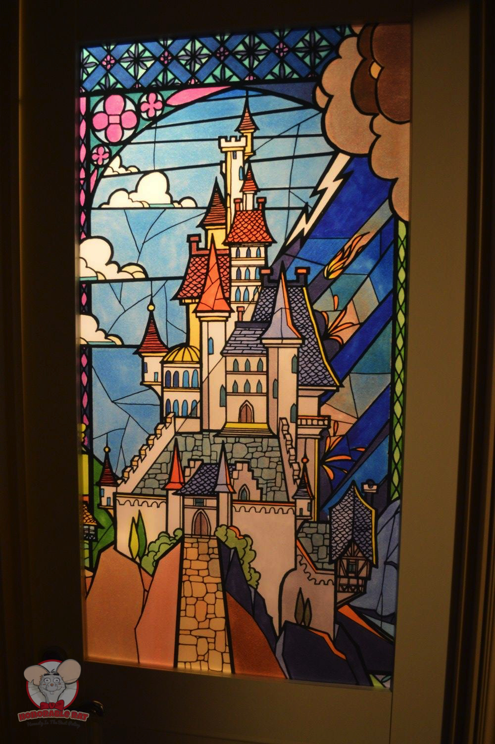 Closer look at the stained glass on the bathroom door