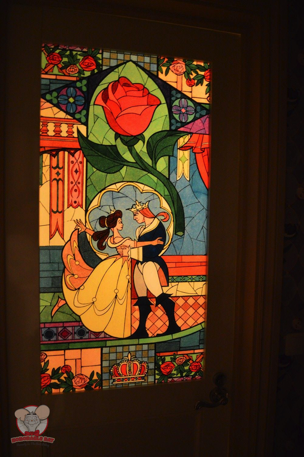 Closer look at the stained glass on the toilet door